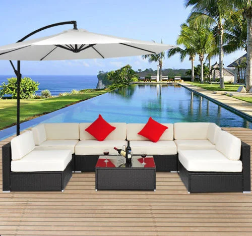 7pc Wicker Patio Furniture Sectional Sofa Rattan Set with Cushions - Cream/Brown