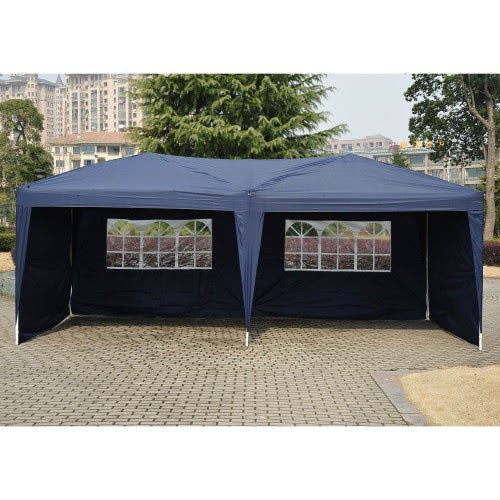10x20 ft Pop Up Wedding Party Canopy Tent with 4 Removable Walls - Blue