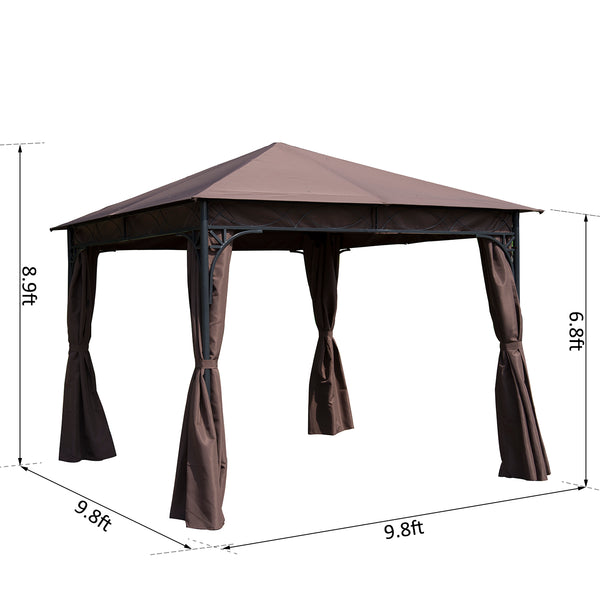 10x10 ft Gazebo Canopy with Curtains - Coffee
