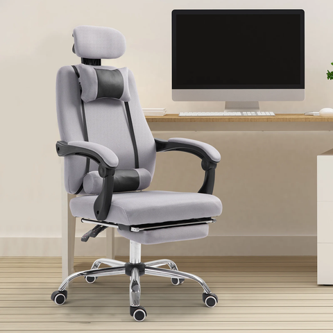 Ergonomic Executive Home Office Chair with Footrest - Grey