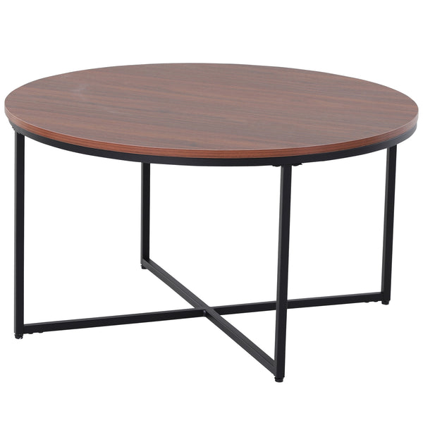 "31"" Round Coffee Table - Brown and Black"