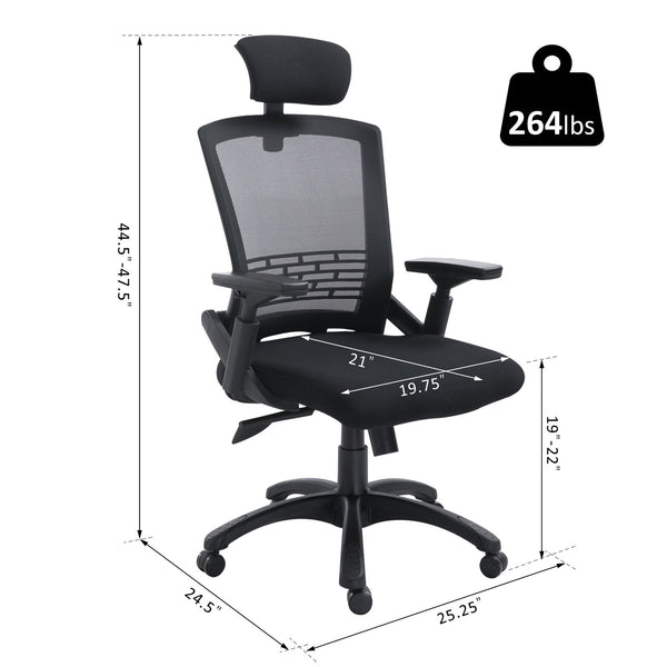 Ergonomic Home Office Chair with Headrest - Black