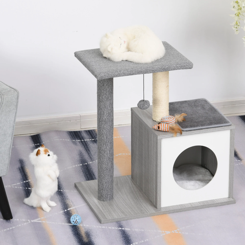 "24.5"" Cat Tree Multi-level Condo - Grey"