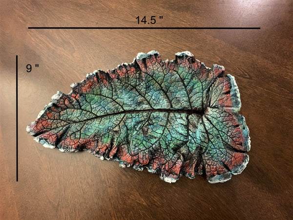 Decorative Handmade Concrete Leaf Casting - Metallic Green, Orange and Turquoise