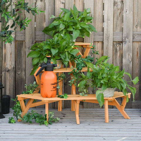 3-Tier Wooden Raised Plant Stand
