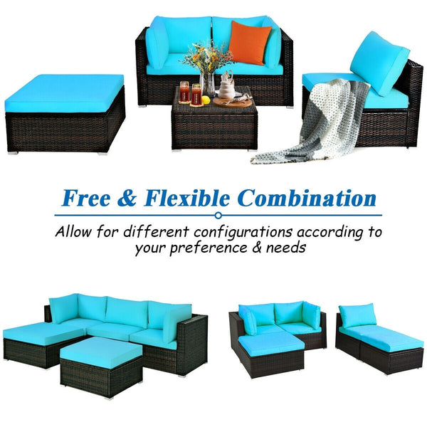 5 Pc Wicker Rattan Patio Sofa Set with Cushion and Ottoman - Turquoise