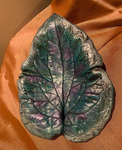Decorative Handmade Concrete Leaf Casting - Metallic Turquoise, Purple with Silver touch