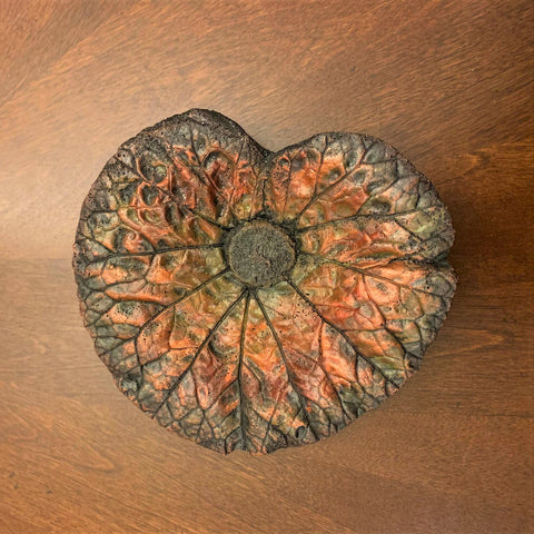 Decorative Handmade Concrete Leaf Casting - Metallic Bronze and Black