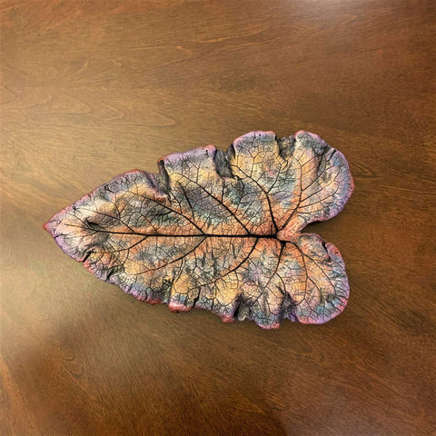 Decorative Handmade Concrete Leaf Casting - Metallic Turquoise, Purple, Bronze and Rose Gold