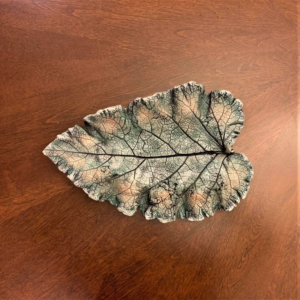 Decorative Handmade Concrete Leaf Casting - Metallic Turquoise, Silver with Gold Touch