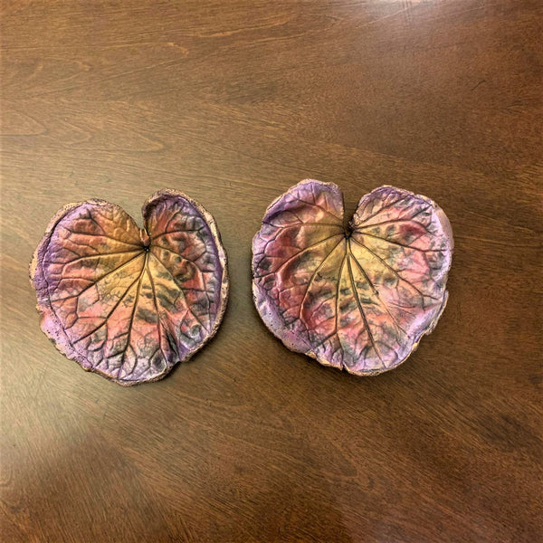 Decorative Handmade Concrete Leaf Casting (Set of 2) - Metallic Pink and purple with Gold touch