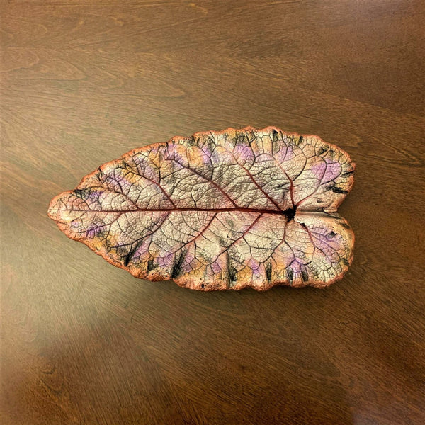 Decorative Handmade Concrete Leaf Casting - Metallic purple, Silver with Gold touch