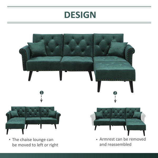 Button Tufted Modern 2 Piece Sofa Set and Chaise Lounge - Dark Green