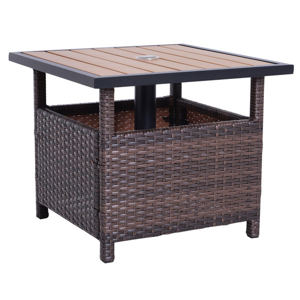 Outdoor Rattan Wicker Accent Table - Brown