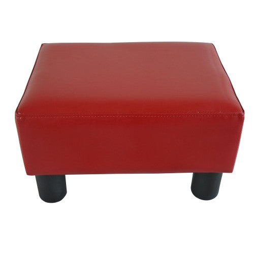 Modern Small Faux Leather Ottoman Footstool - Red