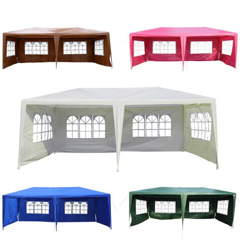 10x20 ft Party Canopy Tent with 4 Removable Walls - Coffee/Pink/Green/Blue/White