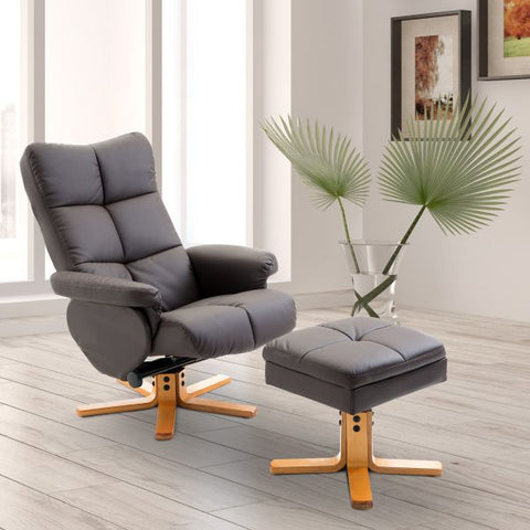 Leather Office Lounge Chair and Ottoman Set