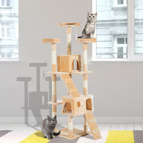 "67"" Multi Level Cat Tree Condo with Activity Centre - Beige"