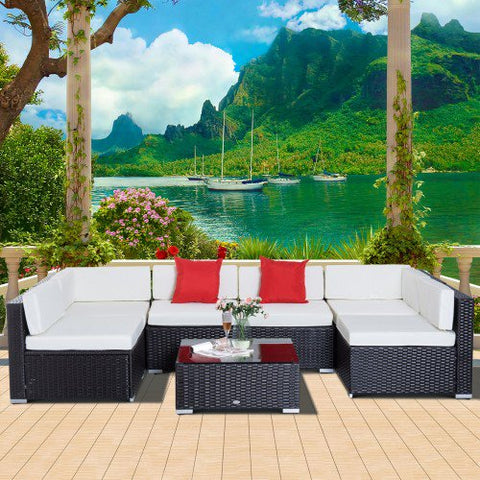 7pc Wicker Patio Furniture Sectional Sofa Set with Cushions -  Dark Coffee & Cream