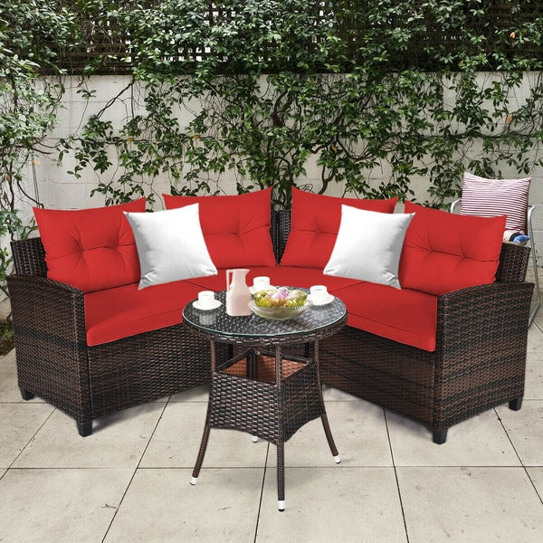 4 Pc Outdoor Cushioned Wicker Rattan Furniture Set - Red
