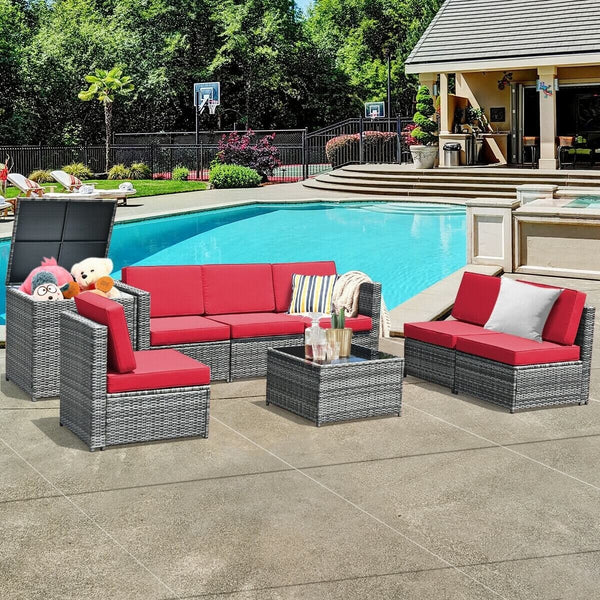 8 Piece Wicker Rattan Dining Set Patio Furniture with Storage Table - Red