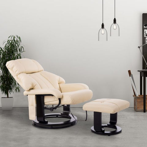 10-Motor Massage Recliner with Ottoman - Cream