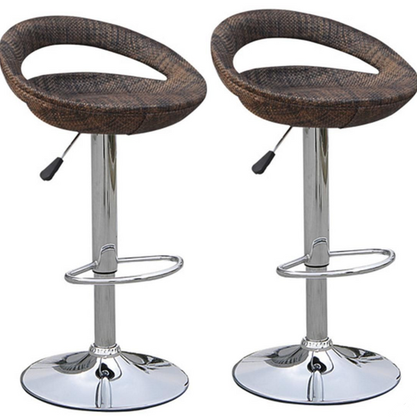 Modern Rattan-Wicker Finish Pub Swivel Bar Stool - Set of 2 - Deep Brown