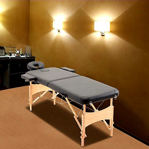 Ultra Portable Mobile Massage Table Bed Beechwood - Black