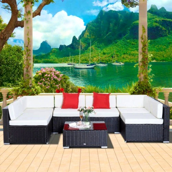 7pc Wicker Patio Furniture Sectional Sofa Set with Cushions - Dark Coffee and Cream