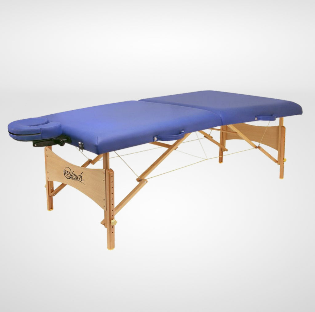 ZenTouch Beechwood Professional Portable Massage Table with Carrying Case - Blue