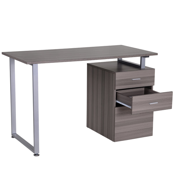 Computer Writing Desk with Cabinet - Silver Brown
