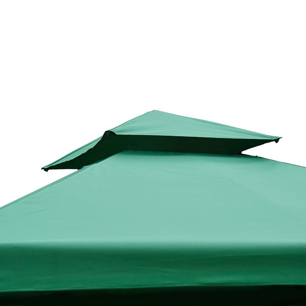 10x10 ft Square 2-Tier Gazebo Replacement Canopy Top (Top cover only) - Green