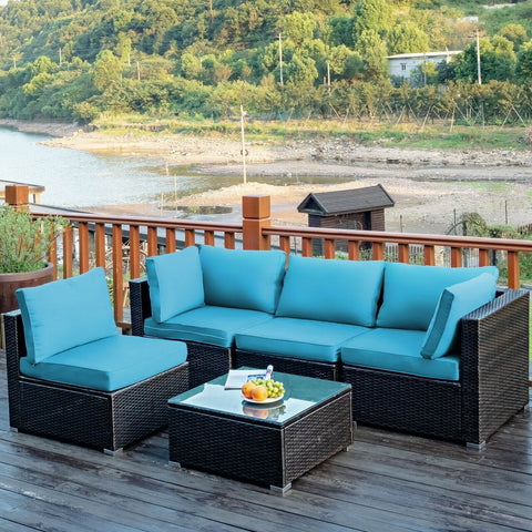 5 Piece Wicker Rattan Cushioned Patio Furniture Set - Turquoise