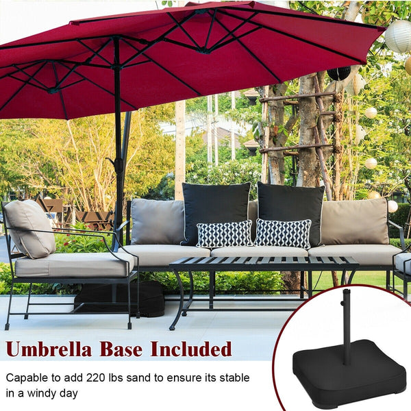 15 Ft. Extra Large Patio Double Sided Umbrella with Crank and Base - Burgundy
