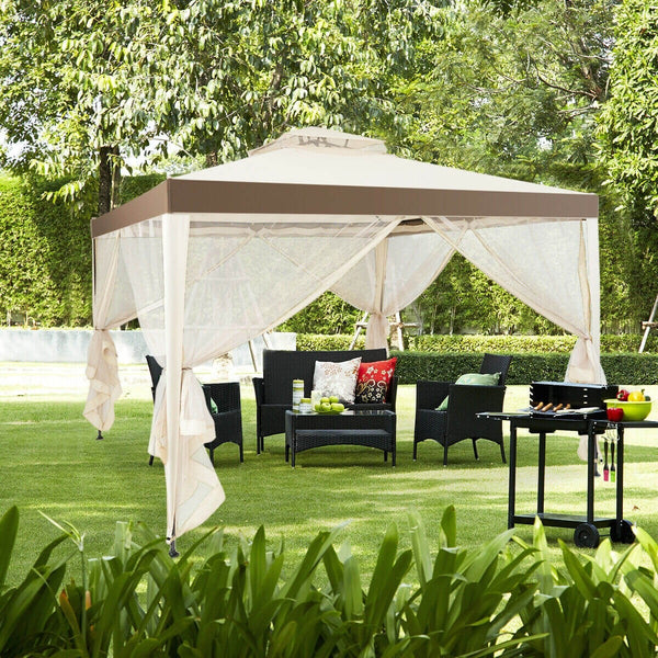 10x10 ft. Canopy Gazebo Tent with Mosquito Netting - Beige