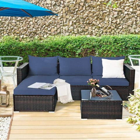 5pc Wicker Rattan Sectional Patio Set with Cushions and Coffee Table - Navy