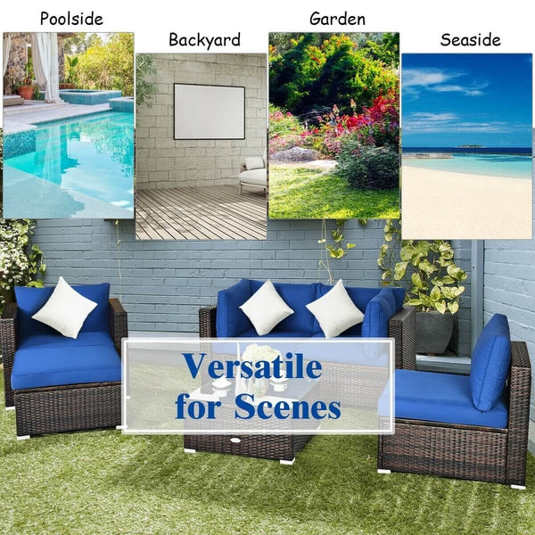 6pc Rattan Sectional Patio Furniture Set - Blue