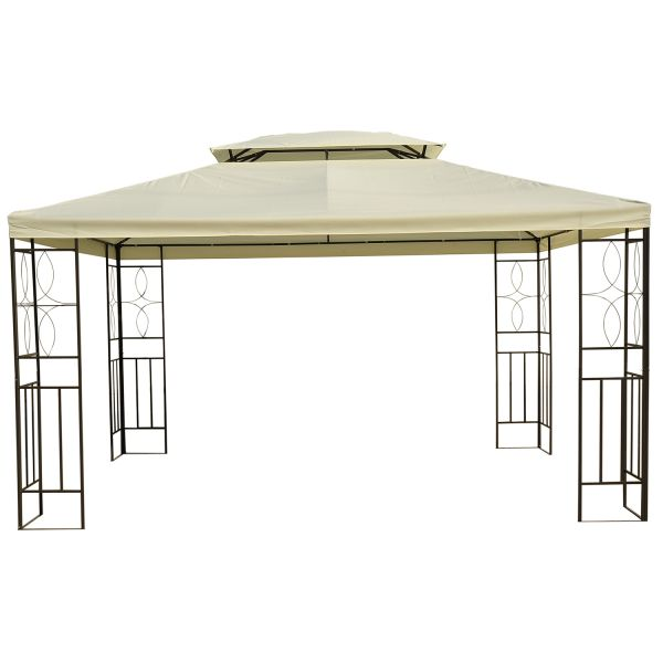 10' x 13' Patio Canopy Vented Steel Gazebo - Cream White