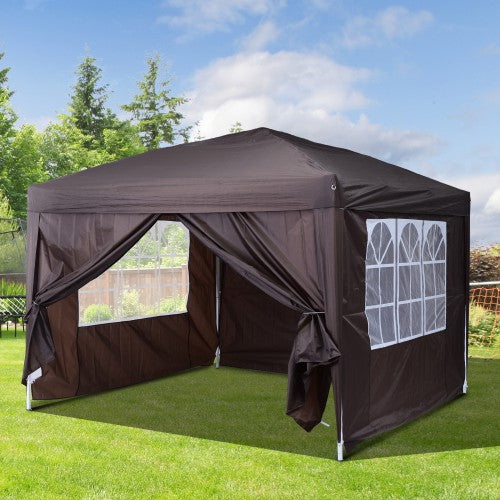 10x10 ft Easy Folding Pop Up Wedding Party Pavilion Tent with 4 sidewalls - Coffee