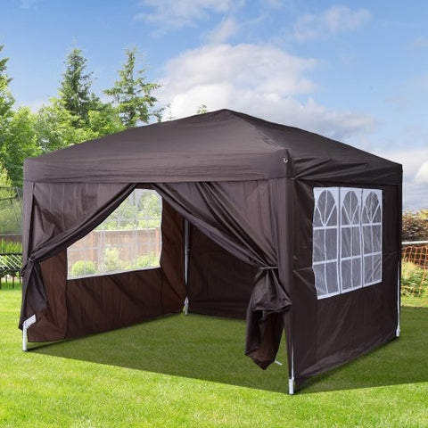 10'x10'ft Easy Folding Pop Up Wedding Party Pavilion Tent with 4 sidewalls - Coffee