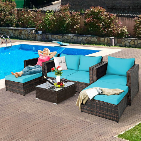 5 Pc Wicker Rattan Patio Cushioned Furniture Set - Turquoise