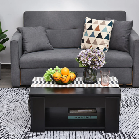 2 Tier Simple Modern Coffee Table - Black
