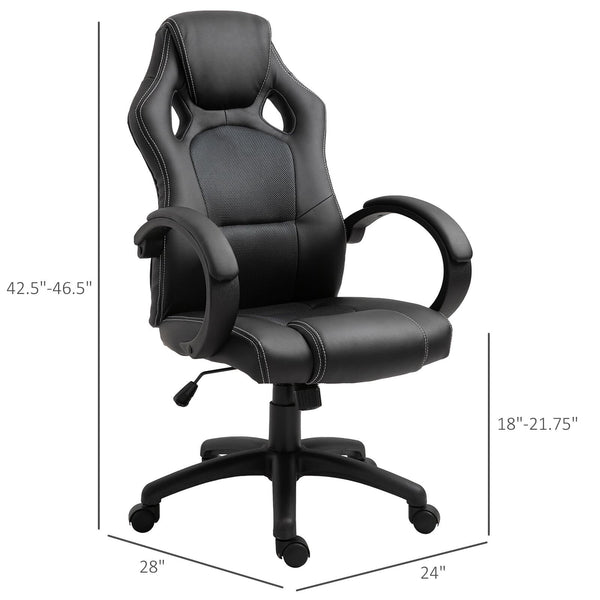 Executive Adjustable Swivel Home Office Chair - Black / Grey