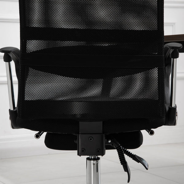 High Back Executive Office Chair with Footrest - Black