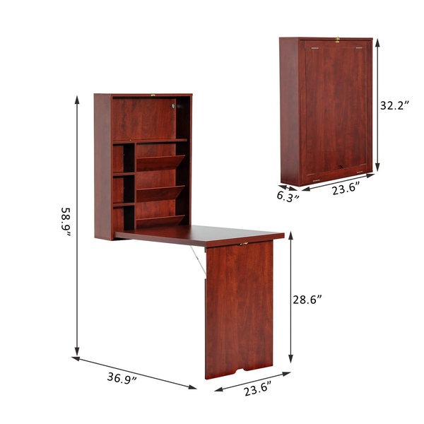 Wall-mounted Home Office Desk - Walnut