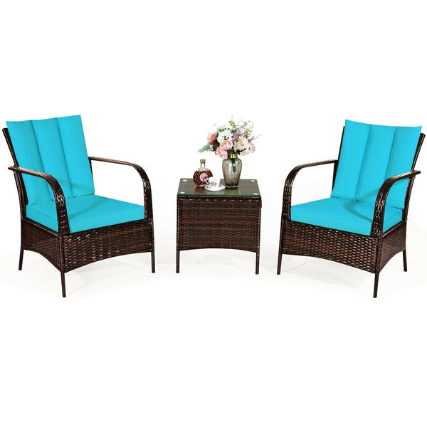 3 Pc Wicker Rattan Patio Furniture Set - Turquoise
