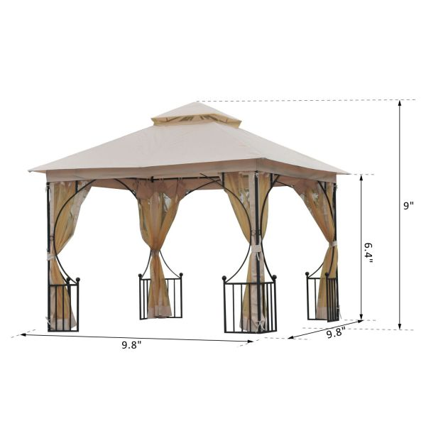 10' x 10' Double Tier Outdoor Garden Gazebo with Mosquito Netting - Beige