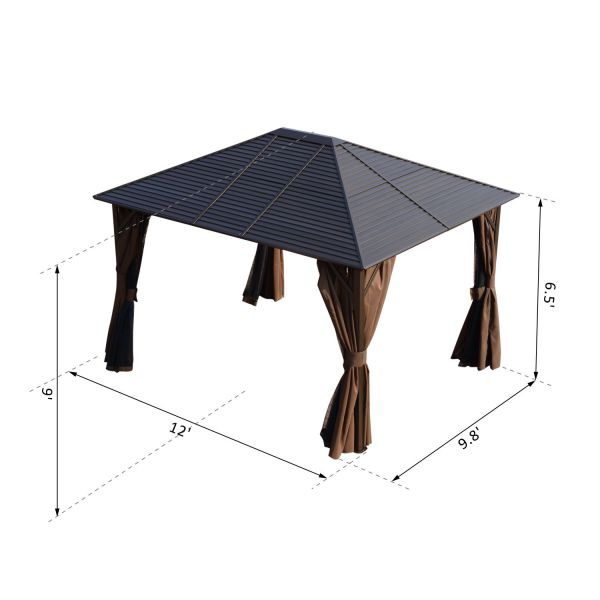 12x10 ft Steel Hardtop Patio Gazebo with Curtains and Mesh Net