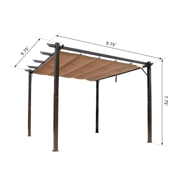 10x10 ft Aluminum Pergola Gazebo with Retractable Canopy - Brown & Coffee