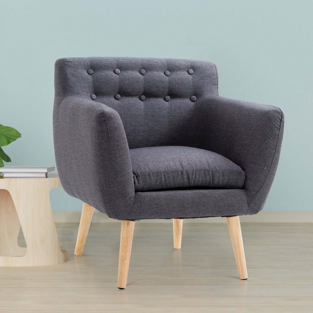 Modern Tufted Seat Chair - Dark Grey